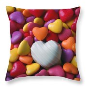 White Heart Candy Throw Pillow by Garry Gay