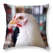 White Hen Throw Pillow