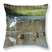 White Heron And Baby Ducks Throw Pillow