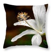 White Hibiscus II Throw Pillow