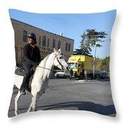 White Horse In Bethlehem Street Throw Pillow