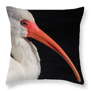 White Ibis Portrait Throw Pillow