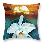White Life On Blue Planet Throw Pillow