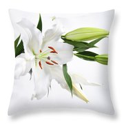 White Lily And Buds Throw Pillow