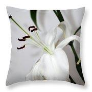 White Lily Portrait Throw Pillow