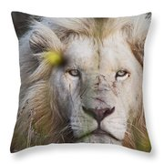 White Lion And Yellow Flowers Throw Pillow