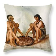 White: Native Americans Eating Throw Pillow