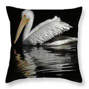 White Pelican De Throw Pillow
