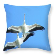 White Pelicans In Flight Throw Pillow