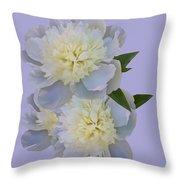White Peonies On Lavender Throw Pillow