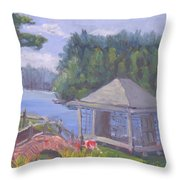White Pine Camp Tea House Throw Pillow