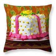 White Present Cake Throw Pillow