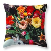 White Rabbit By Basket Of Flowers Throw Pillow by Garry Gay