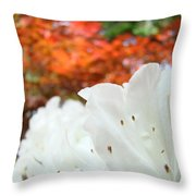 White Rhododendron Flowers Autumn Floral Prints Throw Pillow by Baslee Troutman