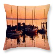 White Rock Sailboats Hdr Throw Pillow