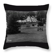 White Roe Lake Hotel - Livingston Manor Ny - Lawn To Lake Throw Pillow