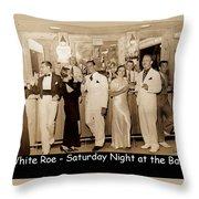 White Roe Lake Hotel-livingston Manor-saturday Night At The Bar Throw Pillow