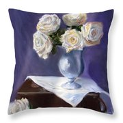 White Roses In A Silver Vase Throw Pillow by Jack Skinner