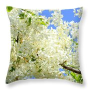 White Shower Tree Throw Pillow