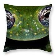 White Spotted Glass Frog Throw Pillow