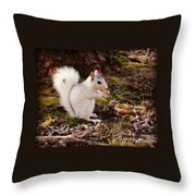White Squirrel With Peanut Throw Pillow