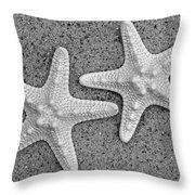 White Starfish In Blackaand White Throw Pillow
