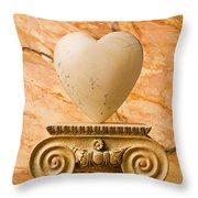 White Stone Heart On Pedestal Throw Pillow