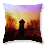 White Swan Church In The Sunset Throw Pillow