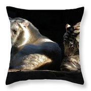 White Tiger And Lion Throw Pillow