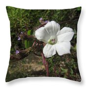 Small White Morning Glory Throw Pillow