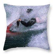 White Water Kayaker Throw Pillow