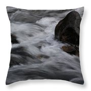 White Water Rushes Over Rocks Throw Pillow
