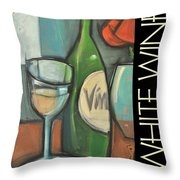 White Wine Poster Throw Pillow