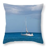 White Yacht Sails In The Sea Along The Coast Line Throw Pillow