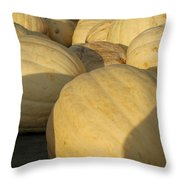 White Yellow Pumpkins Throw Pillow