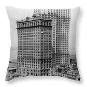 Whitehall Buildings At Battery Place Station In New York City - 1911 Throw Pillow