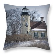Whitehall Lighthouse In Winter Throw Pillow