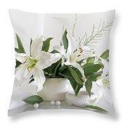 Whites Lilies Throw Pillow