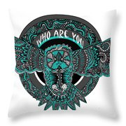 Who Are You Blue Throw Pillow