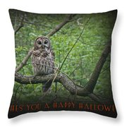 Whoooo Wishes  You A Happy Halloween - Greeting Card - Owl Throw Pillow