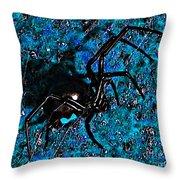 Wicked Widow - Blue Throw Pillow