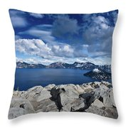Wide View Of Crater Lake Throw Pillow
