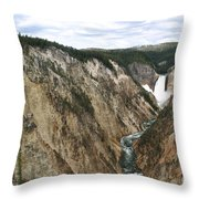 Wide View Of The Lower Falls In Yellowstone Throw Pillow