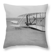 Wilbur Wright Crash Landing In Wright Throw Pillow