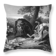 Wild Boar Hunt Throw Pillow