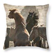 Wild Horse Battle Throw Pillow