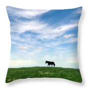 Wild Horse On Grassy Hill Throw Pillow