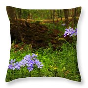 Wild Phlox In The Woodlands Throw Pillow
