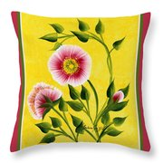 Wild Roses On Yellow With Borders Throw Pillow