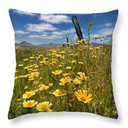 Wildflowers And Barbed Wire Throw Pillow